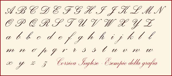 caratteri in corsivo
